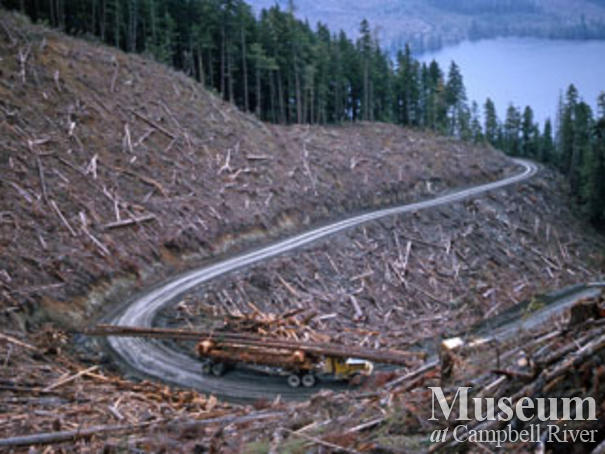 Loaded logging truck near Woss camp