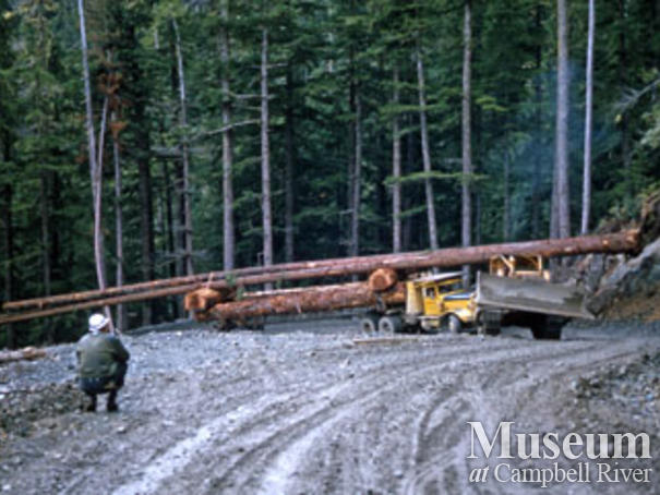 Loaded logging truck near Woss camp