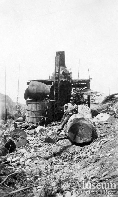 Steam donkey in use near Cape Mudge