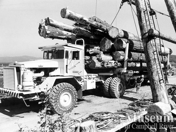 A MacMillan Bloedel logging truck