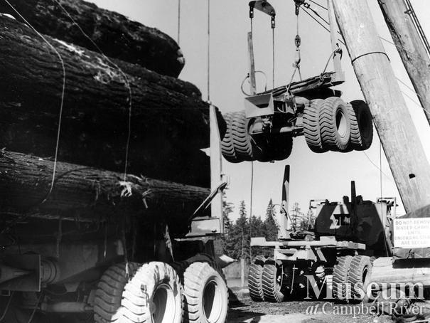 Piggybacking' a logging truck at Elk River Timber co.