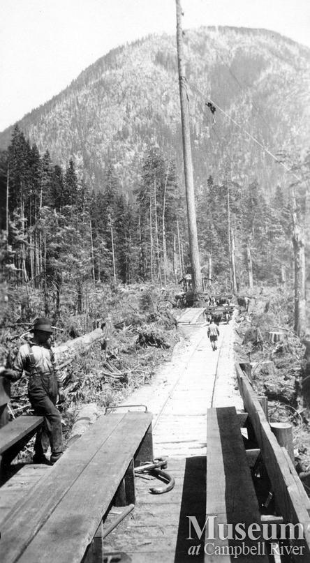 Spar tree and speeder, Nimpkish area